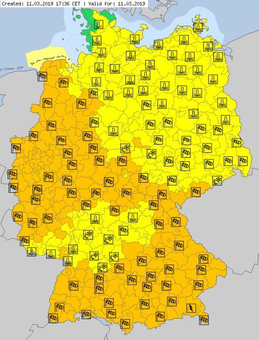Aktualne ostrzeżenia meteorologiczne w Niemczech (za meteoalarm.eu)