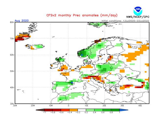 Prognoza odchylenia opadów od średniej w sierpniu 2020 (NOAA)
