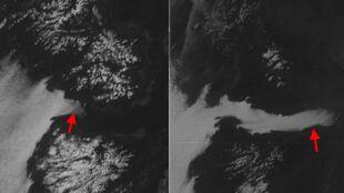 Biała wstęga na zdjęciu z kosmosu
