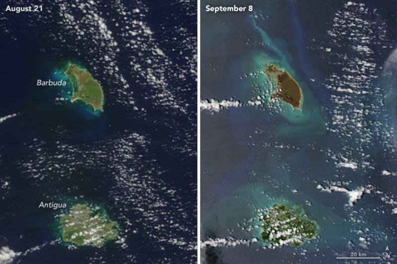 Barbuda przed i po huraganie