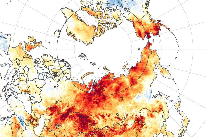 Tegoroczne anomalie temperatury w porównaniu z danymi z lat 2003-2018 (earthobservatory.nasa.gov)