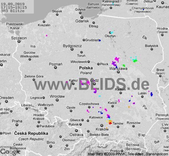 Ścieżka burz w godzinach 17.15-19.15 (blids.de)